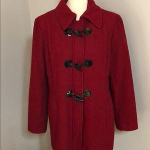 XL Above Knee Length Dark Red Wool Peacoat Style